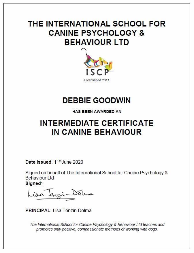 ISCP Intermediate Certificate in Canine Behaviour